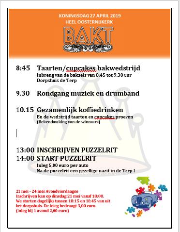Koningsdag - Heel Oosternijkerk bakt en autopuzzeltocht @ Dorpshuis  De Terp