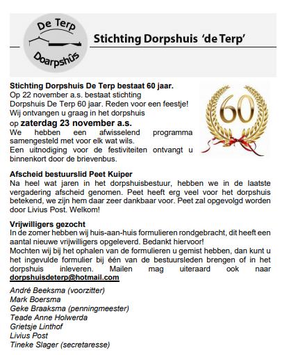 60 jaar Stichting Dorpshuis De Terp